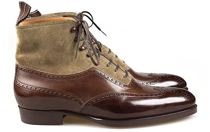Высокие, комбинированные замшей, ботинки ручной работы.